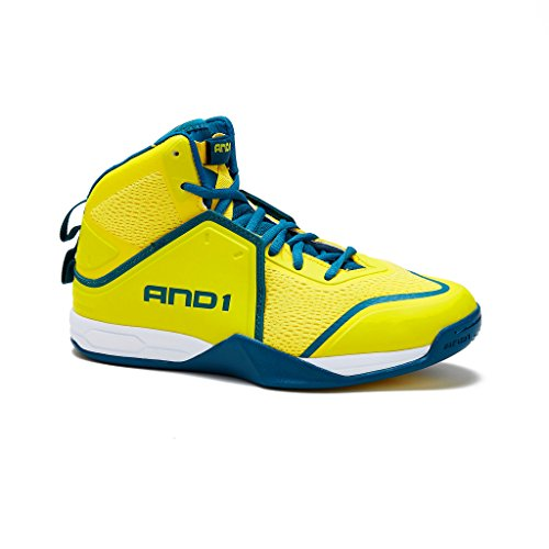 AND1 Mens Havok Basketball Shoe 9.5 Yellow/Teal