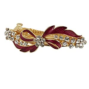 Rosallini Rhinestone Detail Red Bowknot Metal Hair Clip Barrette Gold Tone