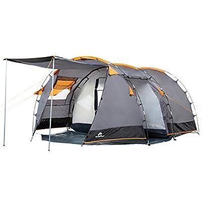 CampFeuer - Tunnelzelt für 4 Personen 3000mm Wassersäule, Grau / Schwarz (Orange), Campingzelt