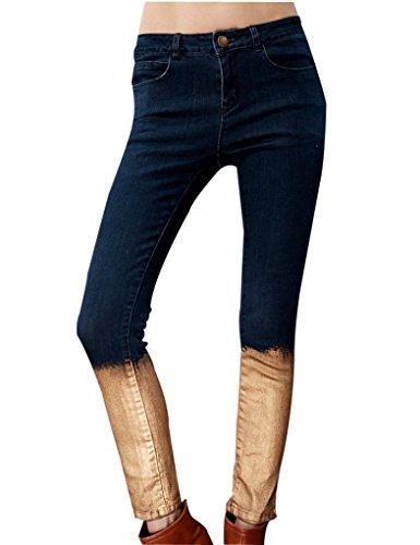 Elf Sack Womens Autumn Jeans Golden Paint Brushing Post-Wash Elastic Medium Size Blue
