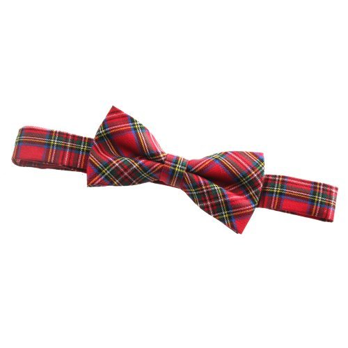 Mens Red Scottish Tartan Pre-Tied Bow Tie - Suitable for Fancy & Formal Dress