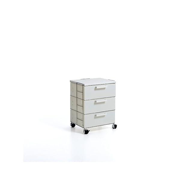 Emporium Isotta White Cassettiera in Filo Metallico Cromato, Bianco Perla