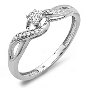 0.20 Carat (ctw) 10k White Gold Round Diamond Crossover Swirl Ladies Bridal Promise Engagement Ring (Size 7)