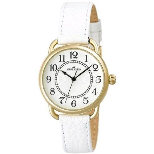 AK Anne Klein Women&#8217;s 108686SVWT Easy to Read Gold-Tone Casual Watch with a White Leather Strap