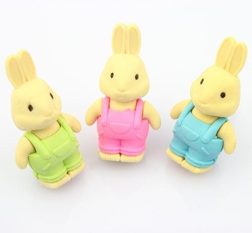 1 Set of Cute Bunny Erasers Green/pink/blue, Goodie Bag Idea - 1