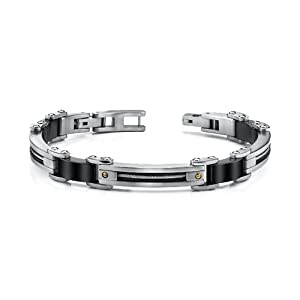 Revoni Stainless Steel Mens Bracelet With Twisted Cable And 18 Karat Gold Rivets by Revoni