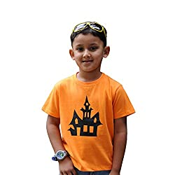 Snowflakes Boys' Orange Tshirt with Halloween house Print