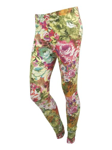 Women'S Red Floral Print Stretch Skinny Tights Pants Girls Leggings front-826894