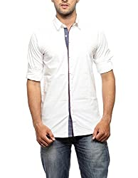 Groove Men Cotton White Casual Shirt (Large)