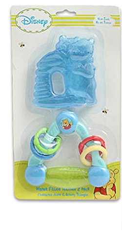 Disney Winnie The Pooh Triangle and HoneyPot Water Filled Teether Ring (2 Pack) (Blue)