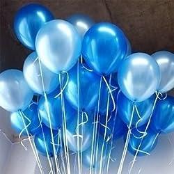 BALLOON JUNCTION Balloons Metallic HD (DARK BLUE+ LIGHT BLUE) - Pack of 50