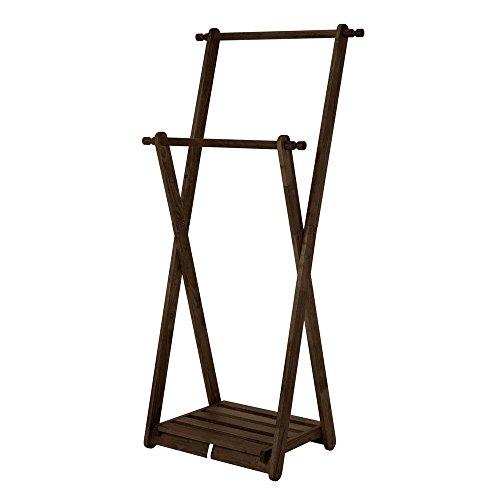 ドウシシャ(Doshisha) 天然木 折りたたんで収納できる 木製ハンガーラック 耐荷重40kg ダブルタイプ ブラウン 幅75.5cm GMHD-76BR GMHD-76BR