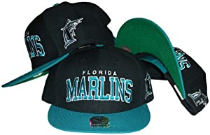 Florida Marlins Black Teal Two Tone Snapback Adjustable Plastic Snap Back Hat Cap by