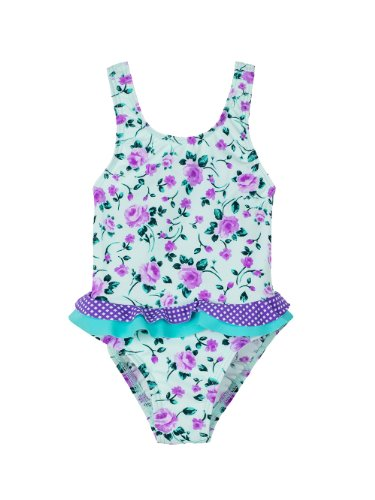 Infant/Toddlers Girls Upf50+ One Piece Swim Suit W Frill Pl Apparel Color: Rose / Amethyst Gingham Apparel Size: 9-12 Months