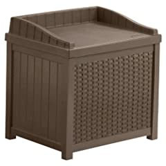 Suncast Resin Wicker 22 Gallon Storage Seat