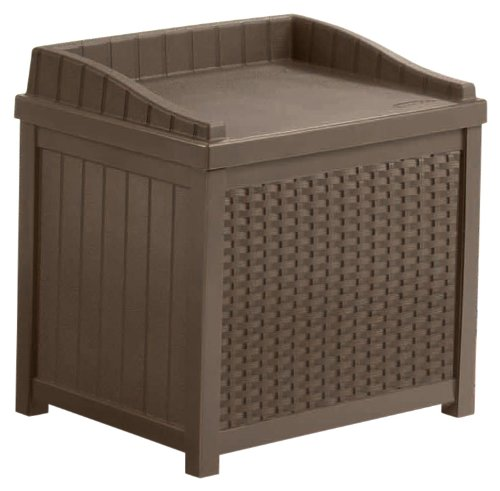 Suncast SSW1200 Mocha Resin Wicker 22-Gallon Storage Seat image