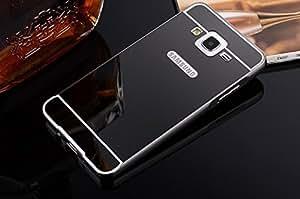Samsung Galaxy On 5 Pro Luxury Aluminium Bumper With Mirror Acrylic Back Cover - Black