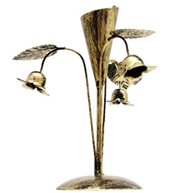 Campanula Dinner Candle Holder Wrought Iron Metal Antique Shabby Gold 10-945 from Sparrowski
