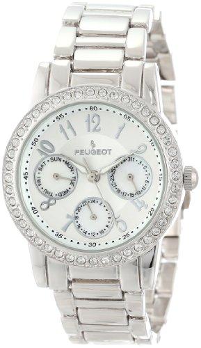 Peugeot Women's 2937SL Silver-Tone Round Multi-Function Swarovski Crystal Accent Bracelet Watch