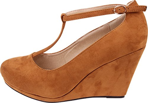 Enimay Women's 4 Inch Wedge Heel Vintage Pin Up Style T Strap Fashion Dress Shoe 1