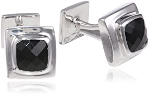 "ROTENIER Men's ""Classic"" Sterling Silver and Black Onyx Cuff Links"