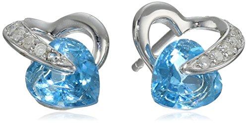 10K White Gold Heart Blue Topaz Diamond Earrings (0.08 Cttw, I-J Color, I2-3 Clarity)