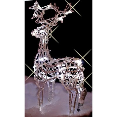 DIRECT SHIP Christmas LED Reindeer,White Metal frame Decoration
