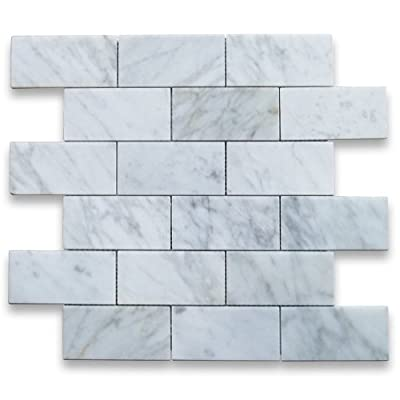 Carrara White Italian Carrera Marble Subway Brick Mosaic Tile 2 x 4 Polished from Stone Center Online
