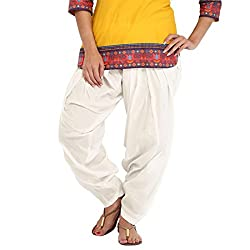 DNK Women's Cotton Patiala Salwar (DNK_0001_White_Free size)