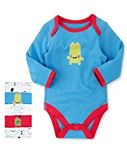 5 Pack Pure Cotton Assorted Monster Bodysuits