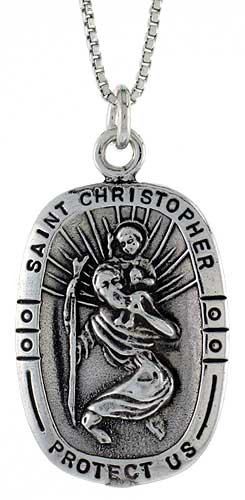 Sterling Silver Saint Christopher Pendant, 3/4 inch (18 mm) Long.