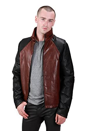 United Face Mens Trendy Zip-off Sleeve Leather Jacket Vest, Brown, Small