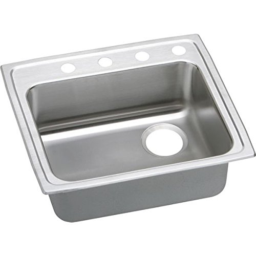 Elkay LRAD252165R5 5-Hole Gourmet Lustertone 25-Inch x 21-1/4-Inch Single Basin Top-Mount Stainless Steel Kitchen Sink