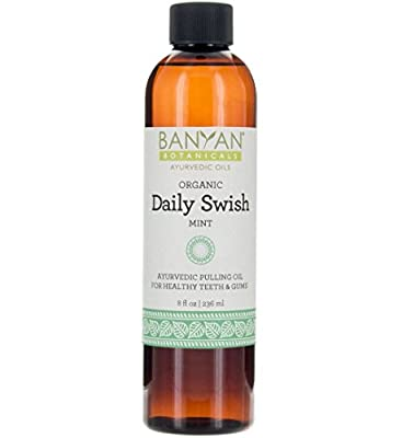 Banyan Botanicals Daily Swish, Mint, USDA Organic, 8 oz, Ayurvedic Oil Pulling Oil For Oral Health and Detoxification