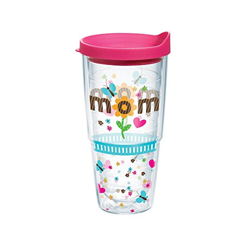 Tervis Tumbler, Mom Flower, 24 oz with Travel Lid, Clear (Mom Cup With Lid compare prices)