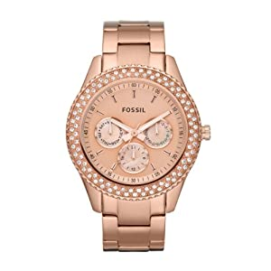 Fossil Stella Stone Set Rose Gold Plated Stainless Steel Bracelet Ladies Watch ES3003