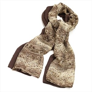 Ladies Contemporary Fashion 2pc Brown Tone Snake Print Scarf Set Brand New