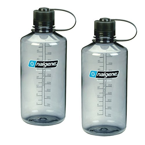 Nalgene Narrow Mouth 1 qt Everyday Water Bottle - 2 Pack (Gray with Black Lid) (Nalgene Water Bottle Narrow Mouth compare prices)
