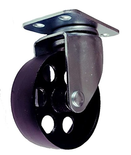 Cast Iron Swivel Plate Caster Wheels w Brake Lock or Rigid Heavy Duty 500lb Rated Capacity (3.5 Inch Plate) (Metal Wheels compare prices)
