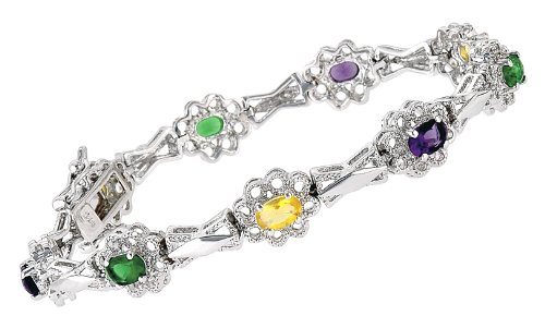 Dark Multi Color C.Z. Set In Flower Shape (.925) Sterling Bracelet (Nice Mother's Day Gift, Special Sale)