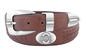 NCAA Ohio State Buckeyes Full Grain Leather Braided Concho Belt by ZEP-PRO