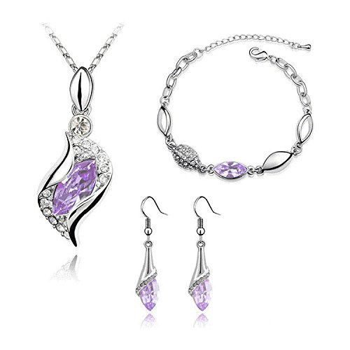 Graces Dawn® Beautiful Cubic Zirconia with Platinum Plated Chain Necklace Angel Elf Pendant Mosaic crystal Necklace bracelet and earrings set Necklace 18