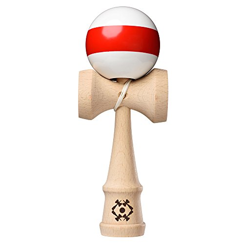 USA Kendama - Tribute - Wooden Skill Toy - White with Red Stripe