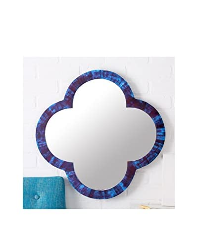 Lapis Blue Tiled Quatrefoil Mirror