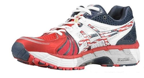 Asics Asics Women's Gel-Kayano 18 USA Olympic Edition Running Shoe, White/Red/Blue, 6.5 M US