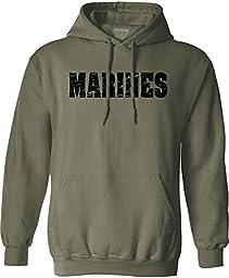 Joe\'s USA(tm)- Vintage Marine Military Hoodies - Hooded Green Sweatshirt M