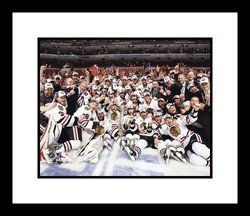 Jonathan Toews and Patrick Kane Chicago Blackhawks NHL Framed 8x10 Photograph with 2010 Stanley Cup Trophy