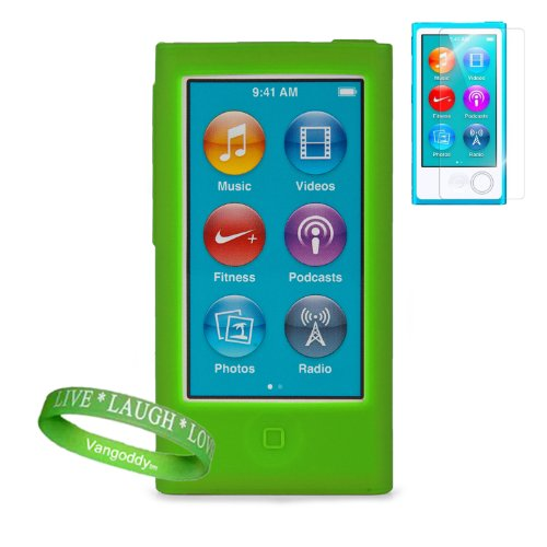 Vibrant Green Silicone Skins For Apple Ipod Nano 7 (7Th Generation) + Vangoddy Brand Wrist Band