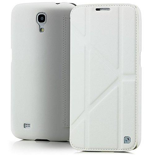 Original Hoco. Flip Case Tasche für Samsung Galaxy Mega 6.3 GT-i9200 i9205 Schutztasche Handyhülle im Slim Design mit Standfunktion | Farbe Weiß + Displayschutzfolie