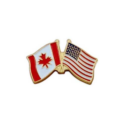 Canada Flag - Left - and USA Flag - Right - Lapel Pin